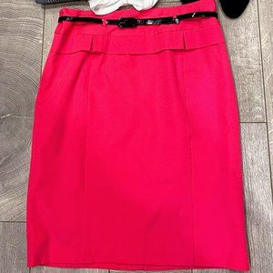Plus Size Hot Pink Peplum Pencil Skirt